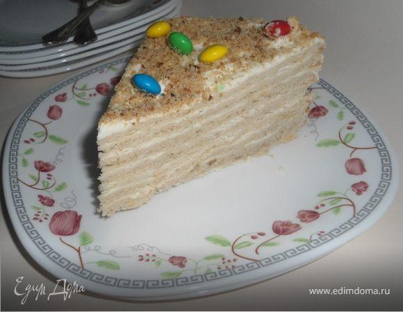 Песочно-ореховый торт со сливочно-сметанным кремом