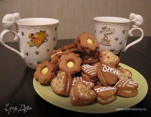 Шоколадно-арахисовое печенье с кремом