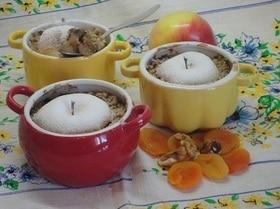 Крамбл яблочный с курагой и абрикосовым пюре