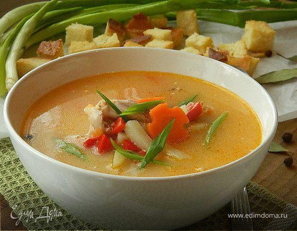 Сырно-томатный суп на курином бульоне