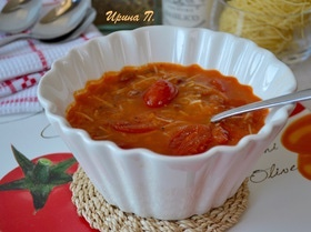 Томатный суп с красной фасолью