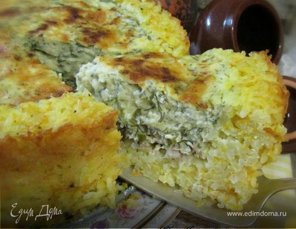 Рисовый пирог со скумбрией