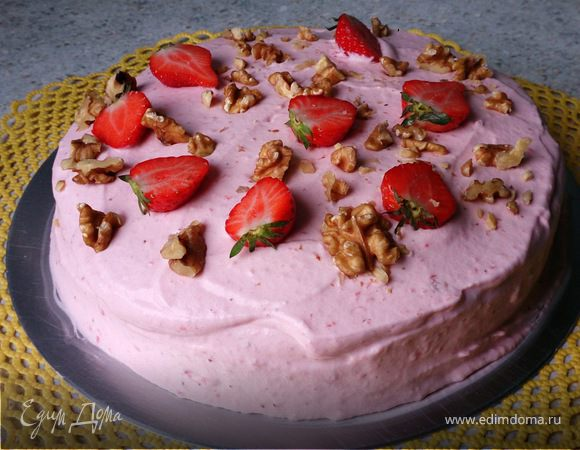 Клубнично-сливочный торт