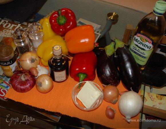 Брускетты с печеным перцем, баклажанами и паштетом