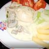 Кальмар, фаршированный картофелем с сыром