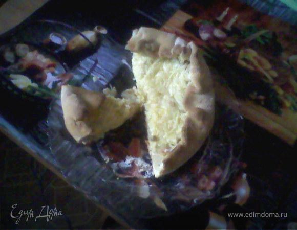 Луковый пирог с грибами