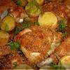 Курица и картофель, запеченные с розмарином