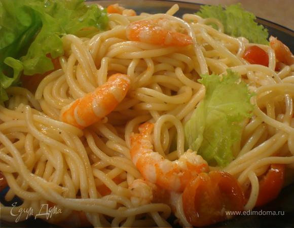 Спагетти с креветками
