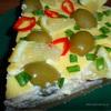 Закусочный пирог с творогом и ветчиной