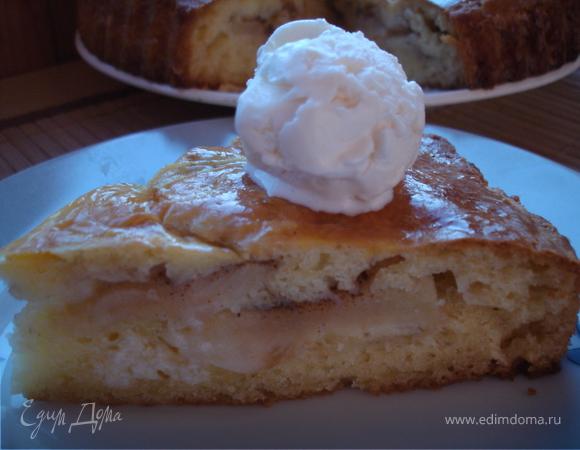 Яблочный пирог из творожного теста.