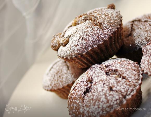 шоколадные маффины с халвой
