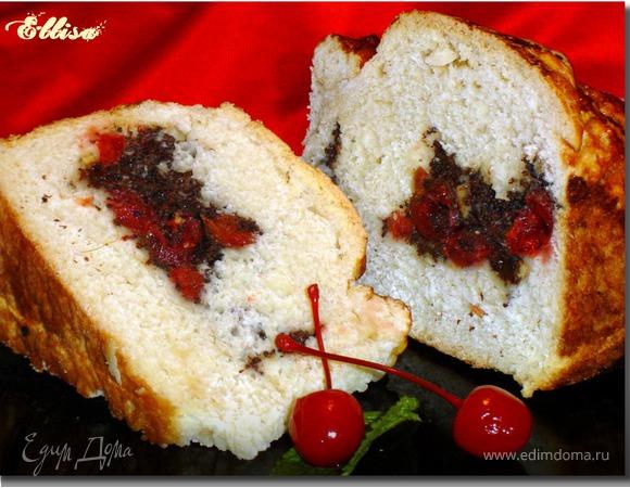 Оригинальный пирог с маком, вялеными вишнями, цукатами
