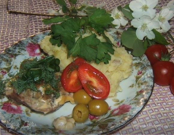 Телятина молодая запеченная с сыром и грибами ;)