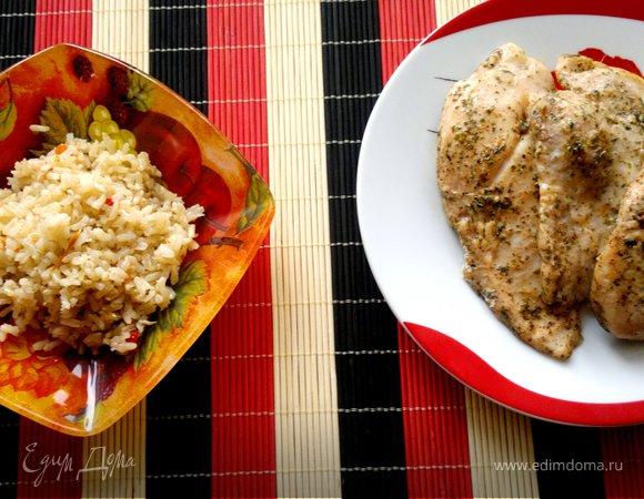 Бурый рис на курином бульоне