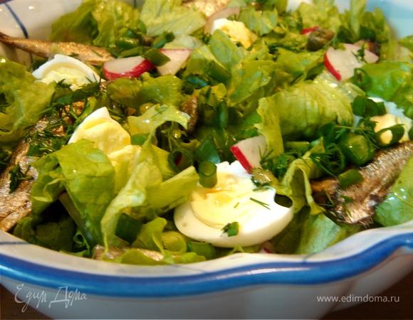 Салат с редисом и шпротами