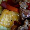 Свинина с ананасами в устричном соусе.