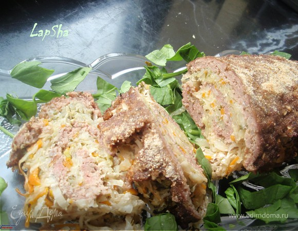 Мясной рулет с начинкой из капусты