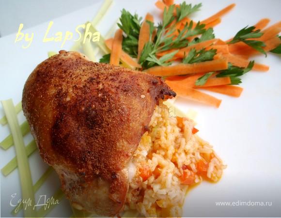 Куриные бедра, фаршированные рисом