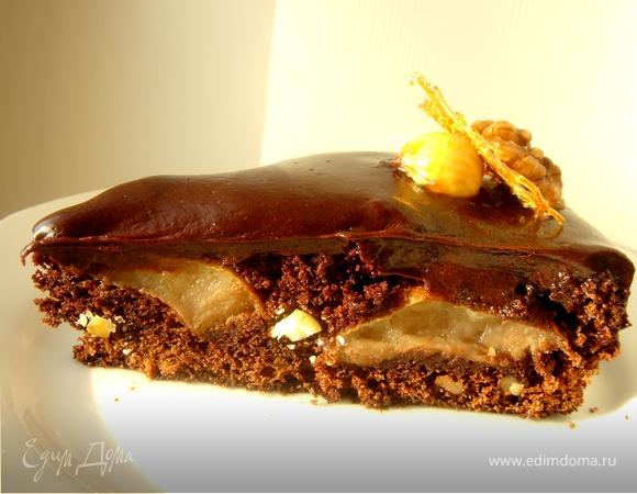 Шоколадный пирог с айвой,каштанами и грецкими орехами