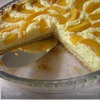 Творожно-лимонный пирог с персиками