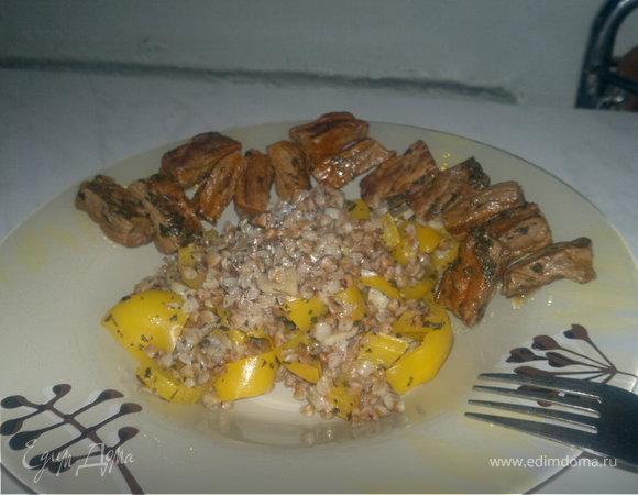 Гречотто с Болгарским перцем и чесноком + говядина в эстрагоне