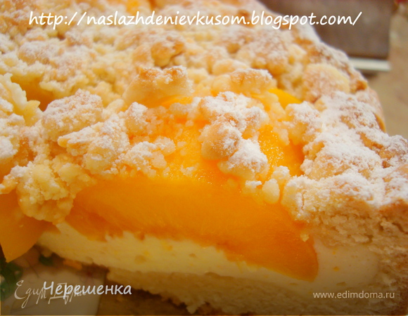 рецепт пирог с персиками и безе
