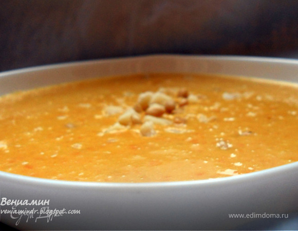 Чечевично-морковный суп-пюре с имбирем