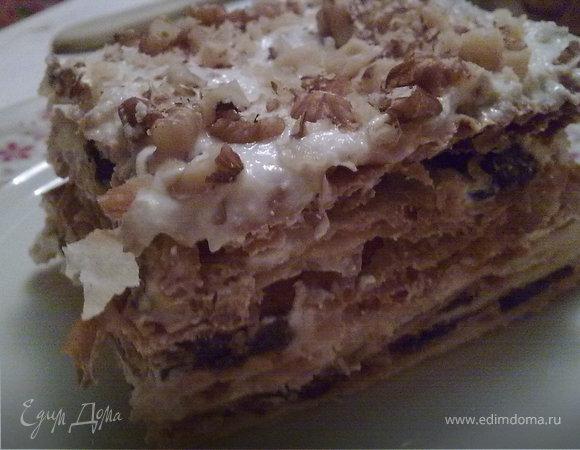 """Торт """"Наполеон"""" с черносливом"""