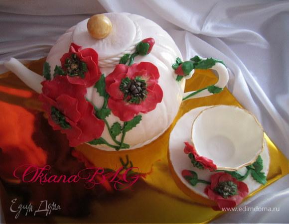 """""""Чайник, чашка не фарфор"""", потому что это торт;)"""