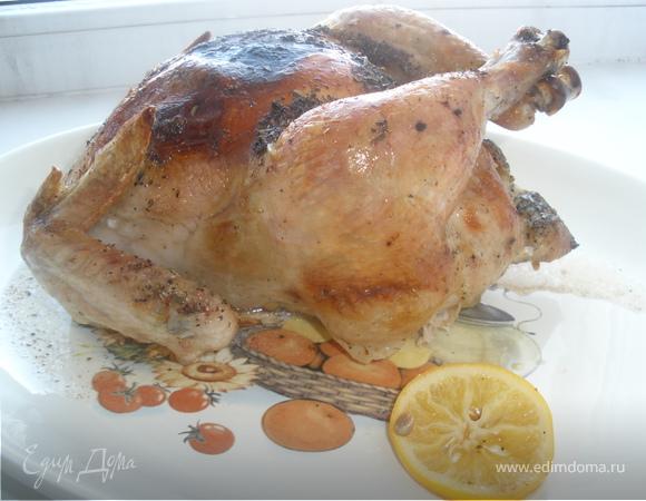 Курица запеченая с лимонами и орегано