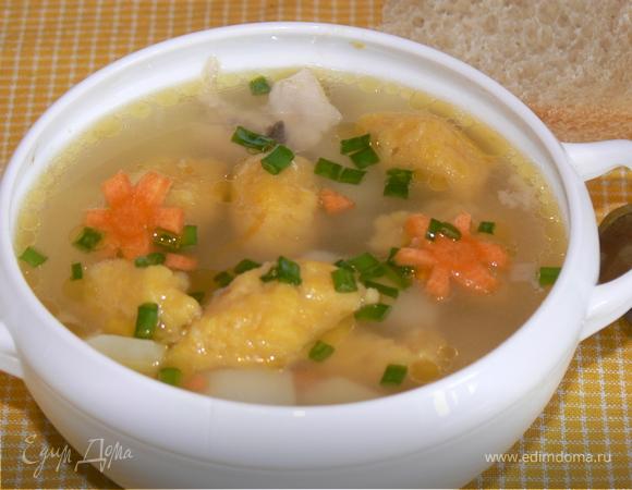 Куриный суп с тыквенными клецками