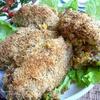 Морской окунь с овощной начинкой в орехово-сухарной шубке