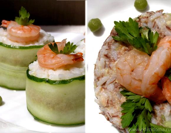 Роллы с тунцом и креветками + бонус Суши-салат