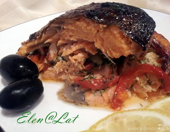 Рыбная бандероль с креветками и болгарским перцем