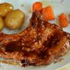 Свиные отбивные в барбекю-соусе и с овощами