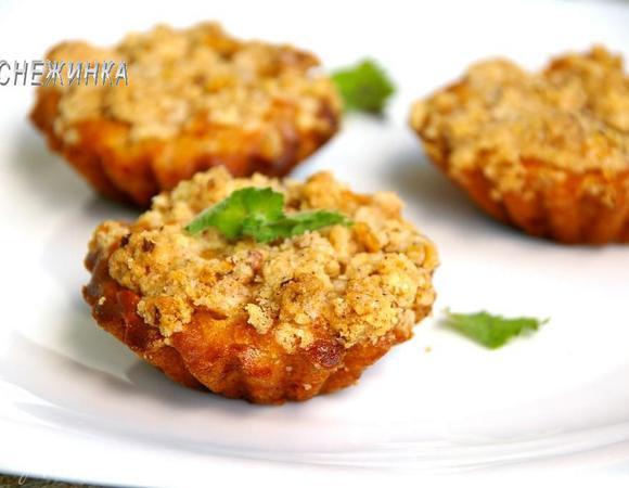 Самые ароматные яблочные кексы со штрейзелем