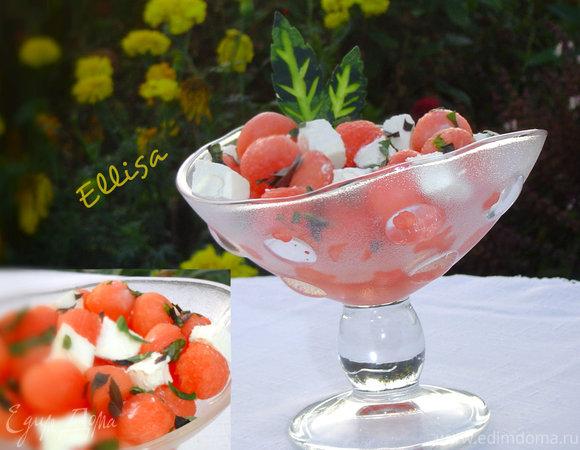 Арбузный салат с фетой, мятой и базиликом