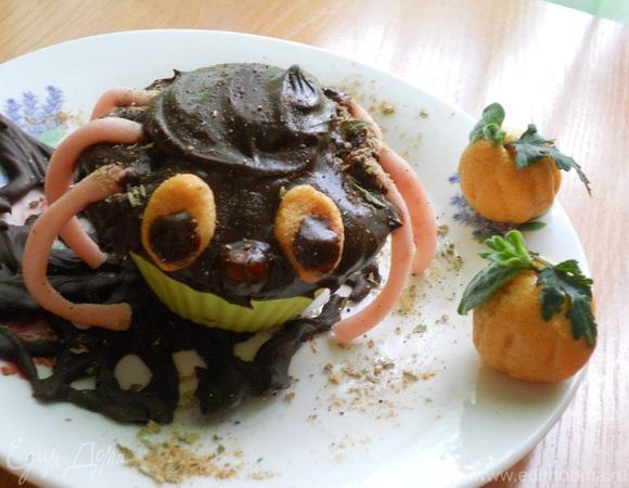 """Сливочные кексы """"Паучок"""" для """"hallowen"""""""