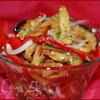 Салат из маринованных баклажанов с овощами