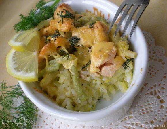 Запеканка из риса и лосося
