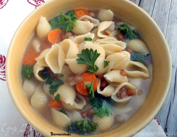 Суп с пастой и чечевицей