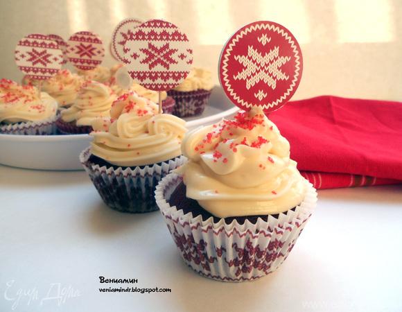 """Капкейки """"Красный бархат"""" (Red Velvet Cupcakes)"""