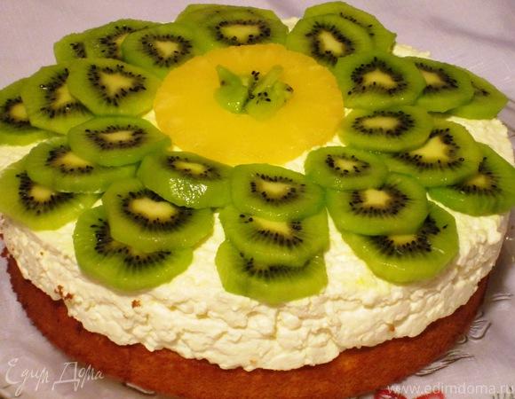 Торт с творожным муссом и киви