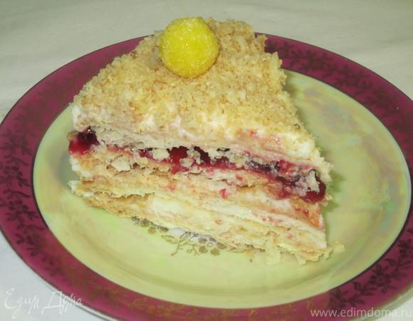 """Торт """"Наполеон"""" малиновый"""
