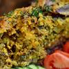 Пекинская уточка карри, фаршированная рисом, сыром и грибами
