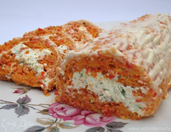 Рулет из болгарского перца с творогом и зеленью