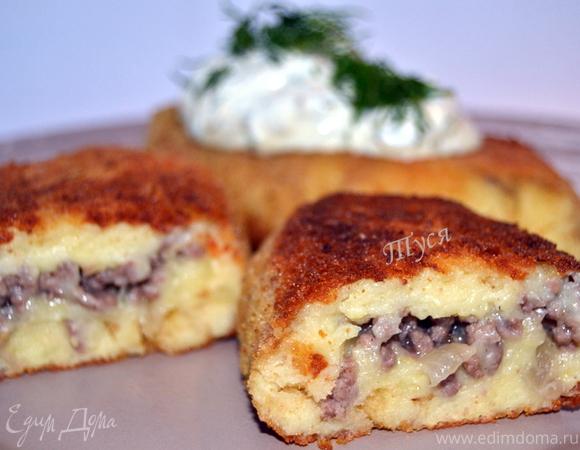 Биточки картофельные с мясной начинкой