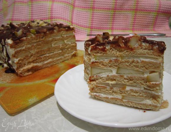 Фруктово-сливочный торт из печенья