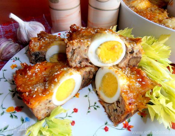 Воскресное мясное кольцо с печенью и грибами