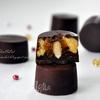 Шоколадные конфеты с тыквенным кремом, мандариновым мармеладом и миндалем